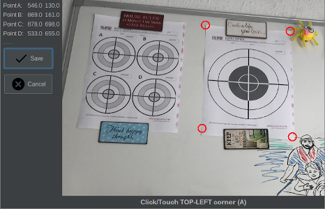 Visual Target Detection lets you easily calibrate you setup and correct camera perspective.